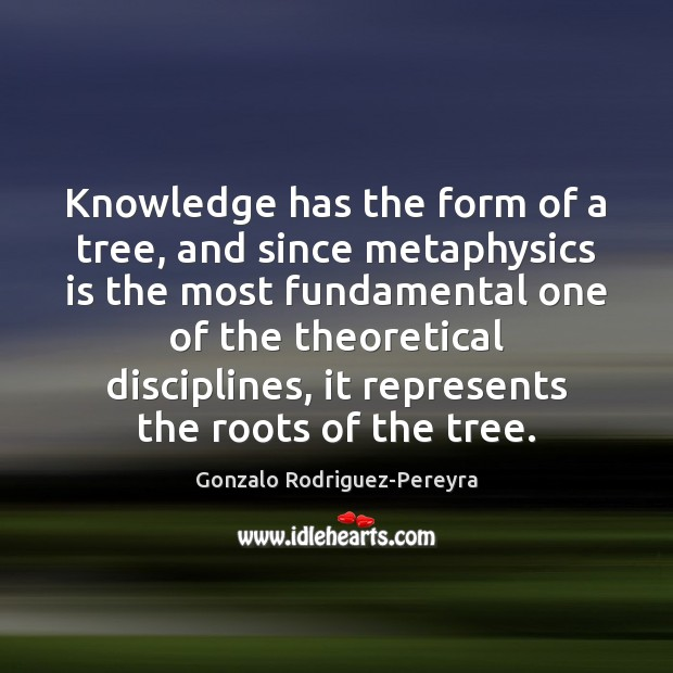 Knowledge has the form of a tree, and since metaphysics is the Image