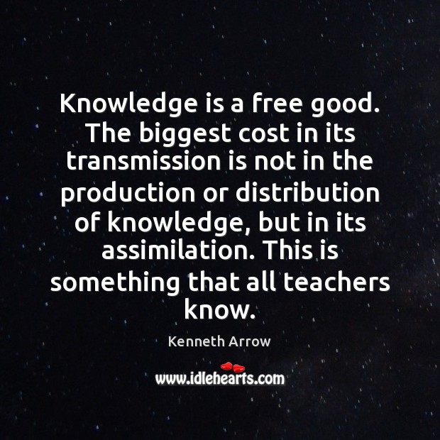 Image, Knowledge is a free good. The biggest cost in its transmission is