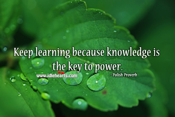 Keep learning because knowledge is the key to power. Polish Proverbs Image