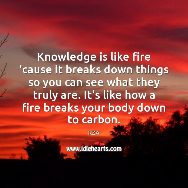 Knowledge is like fire 'cause it breaks down things so you can RZA Picture Quote