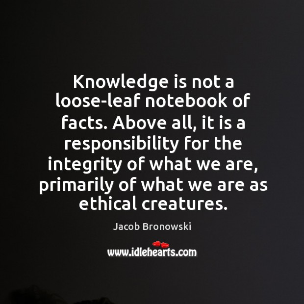 Knowledge is not a loose-leaf notebook of facts. Above all, it is Image