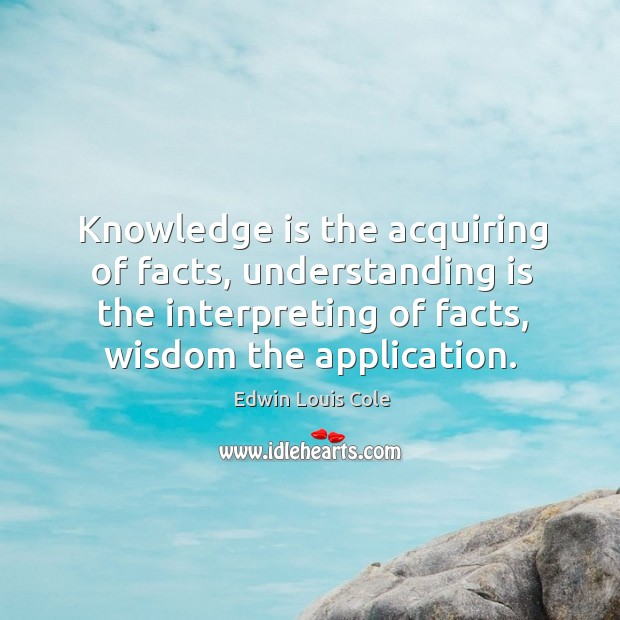 Image, Knowledge is the acquiring of facts, understanding is the interpreting of facts,