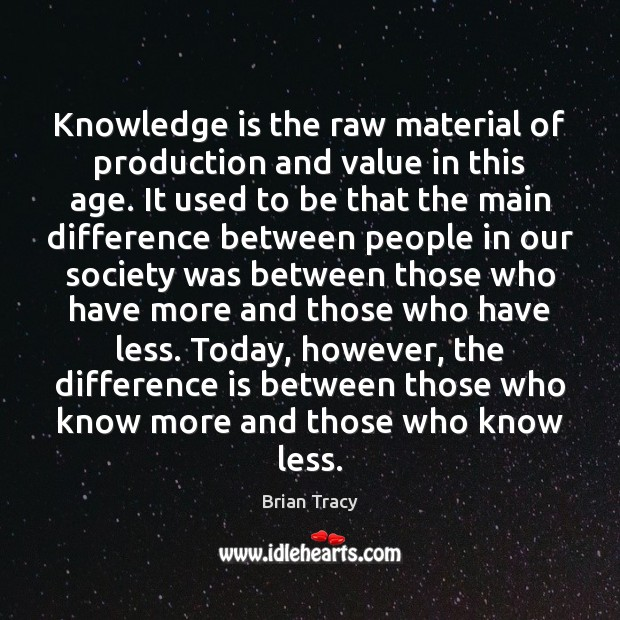 Knowledge is the raw material of production and value in this age. Brian Tracy Picture Quote