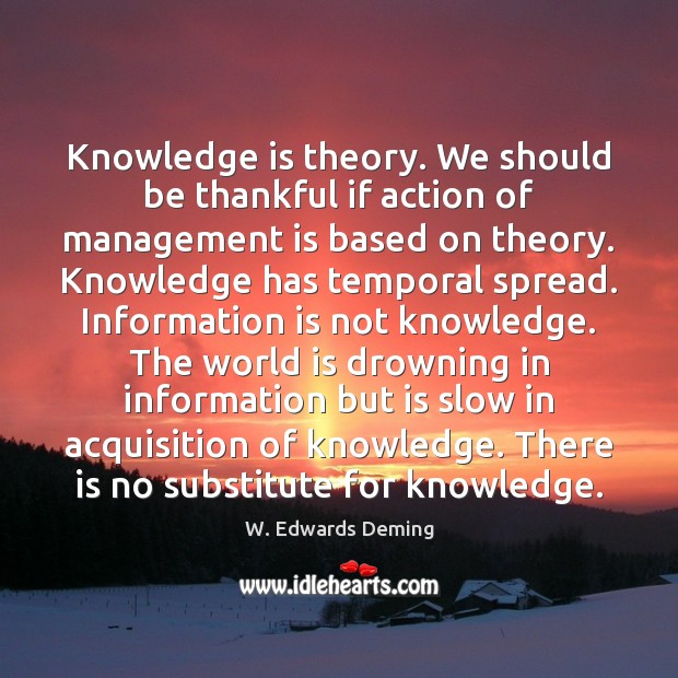 Knowledge is theory. We should be thankful if action of management is Management Quotes Image