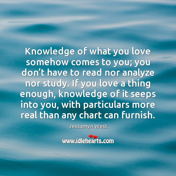Image, Knowledge of what you love somehow comes to you; you don't