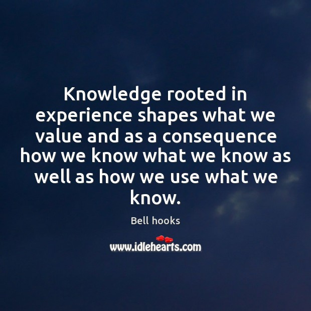 Image, Knowledge rooted in experience shapes what we value and as a consequence