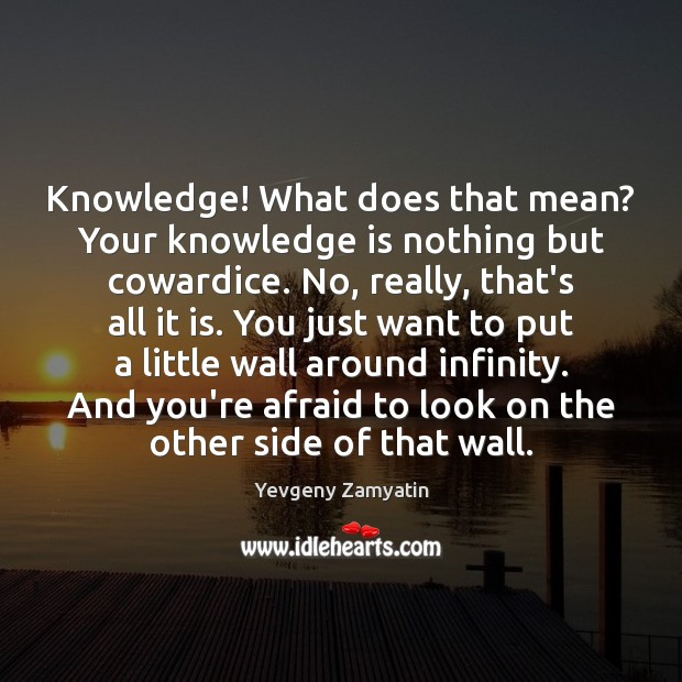 Knowledge! What does that mean? Your knowledge is nothing but cowardice. No, Yevgeny Zamyatin Picture Quote