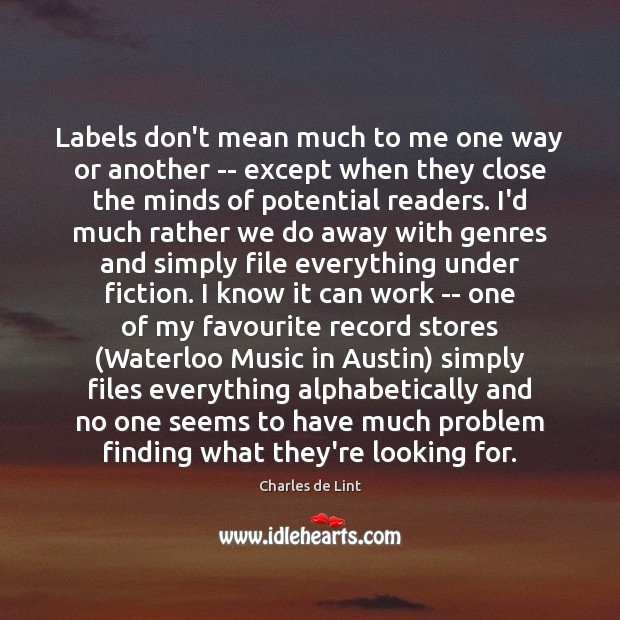 Labels don't mean much to me one way or another — except Image