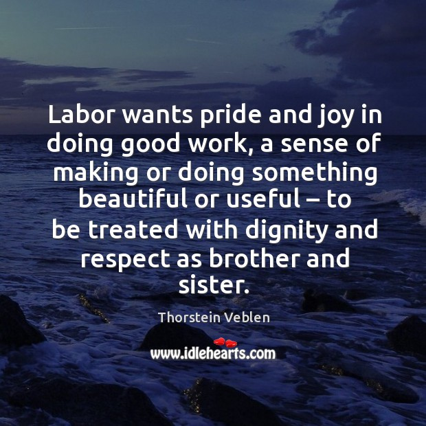 Labor wants pride and joy in doing good work, a sense of making or doing something beautiful Thorstein Veblen Picture Quote