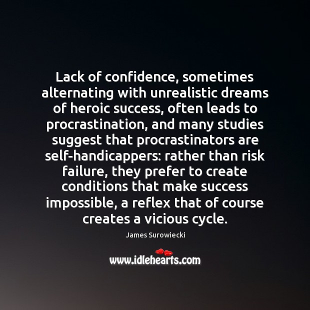 Lack of confidence, sometimes alternating with unrealistic dreams of heroic success, often Procrastination Quotes Image