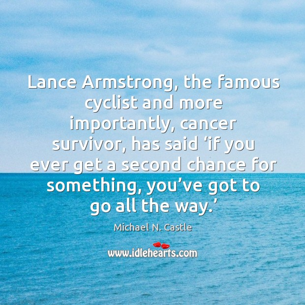 Image, Lance armstrong, the famous cyclist and more importantly, cancer survivor, has said 'if