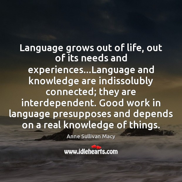 Image, Language grows out of life, out of its needs and experiences…Language