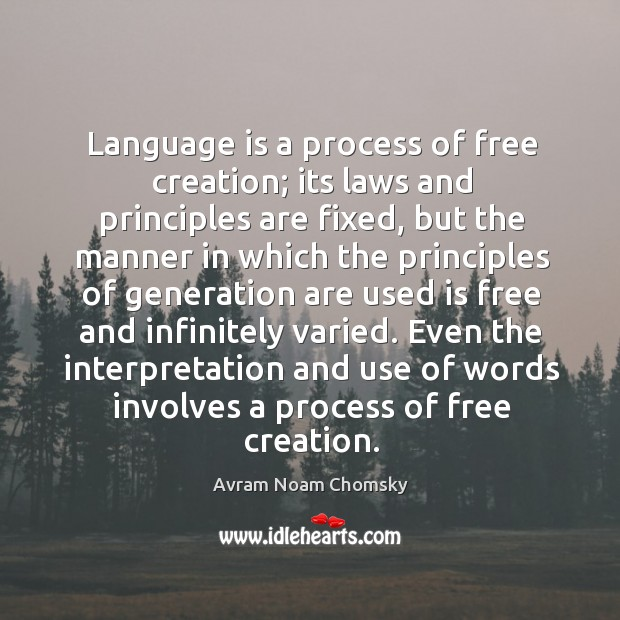 Language is a process of free creation; Image