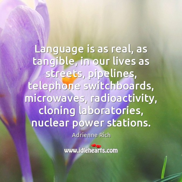 Language is as real, as tangible, in our lives as streets, pipelines, Adrienne Rich Picture Quote