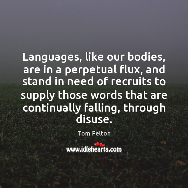 Languages, like our bodies, are in a perpetual flux, and stand in Image