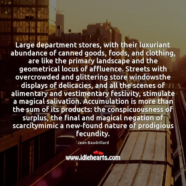 Large department stores, with their luxuriant abundance of canned goods, foods, and Image