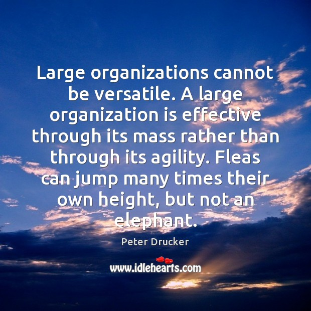 Large organizations cannot be versatile. A large organization is effective through its Peter Drucker Picture Quote