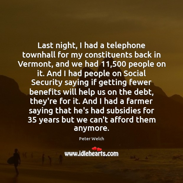 Last night, I had a telephone townhall for my constituents back in Image