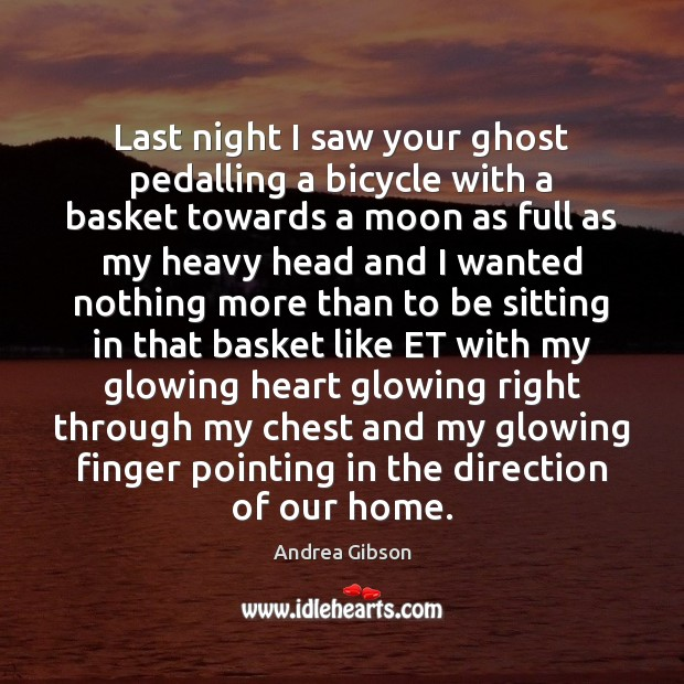 Last night I saw your ghost pedalling a bicycle with a basket Image