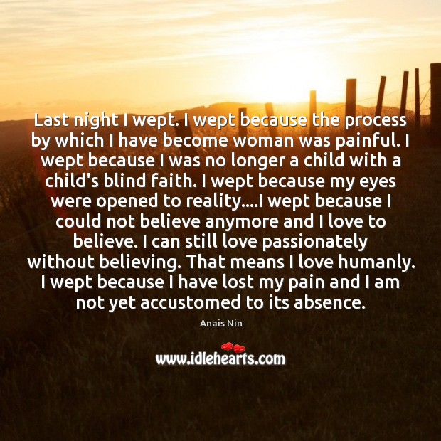 Last night I wept. I wept because the process by which I Anais Nin Picture Quote