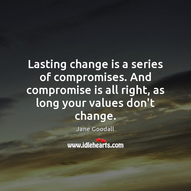 Image, Lasting change is a series of compromises. And compromise is all right,
