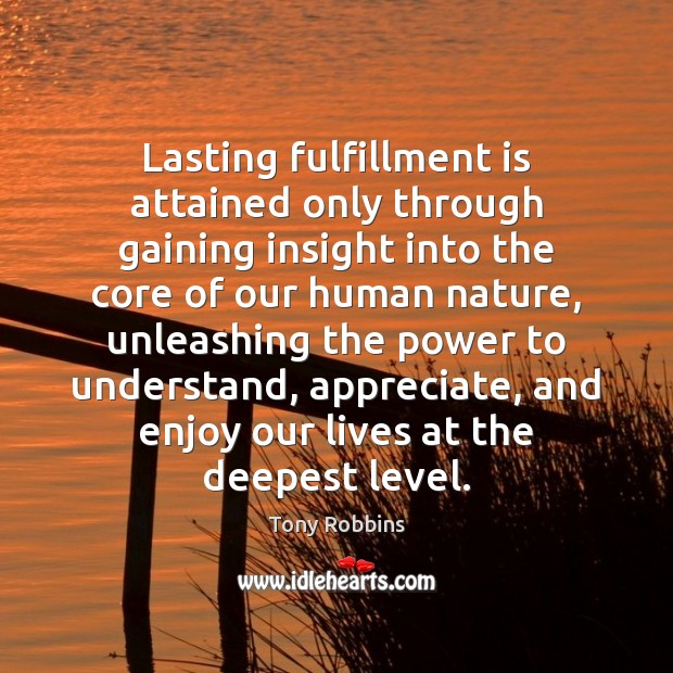 Lasting fulfillment is attained only through gaining insight into the core of Image