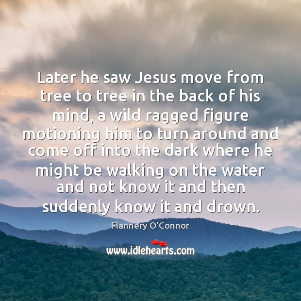 Later he saw Jesus move from tree to tree in the back Image
