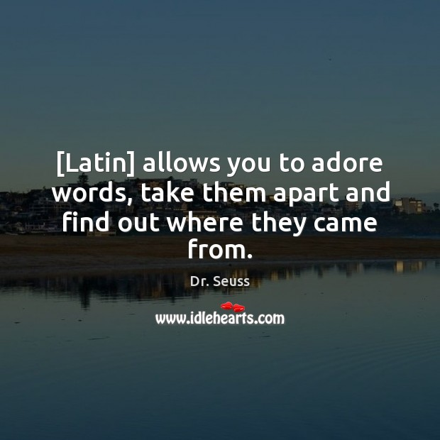 Image, [Latin] allows you to adore words, take them apart and find out where they came from.