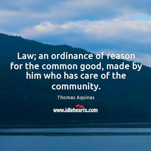 Image, Law; an ordinance of reason for the common good, made by him who has care of the community.