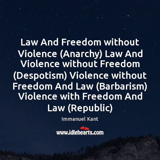 Law And Freedom without Violence (Anarchy) Law And Violence without Freedom (Despotism) Immanuel Kant Picture Quote