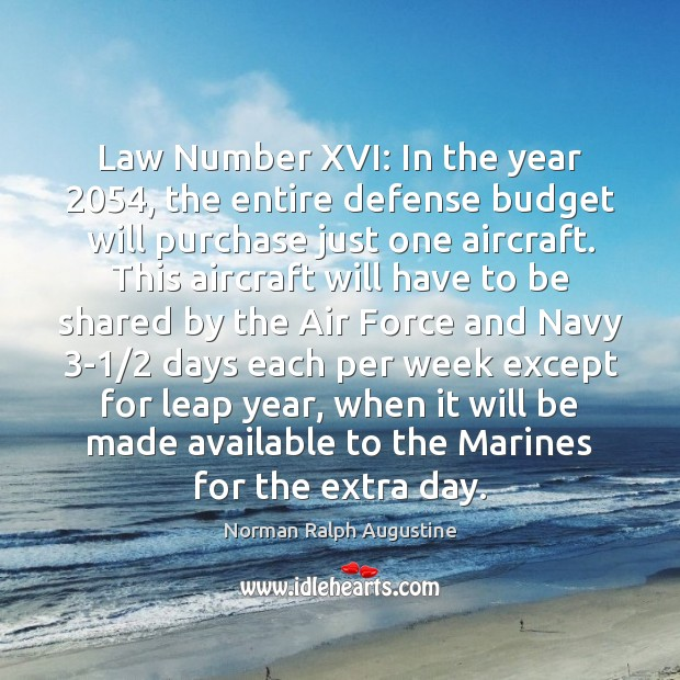 Law Number XVI: In the year 2054, the entire defense budget will purchase Image
