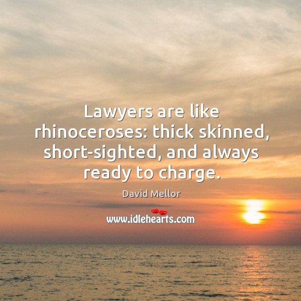 Lawyers are like rhinoceroses: thick skinned, short-sighted, and always ready to charge. Image
