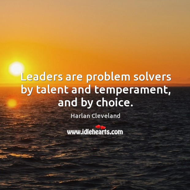 Leaders are problem solvers by talent and temperament, and by choice. Image
