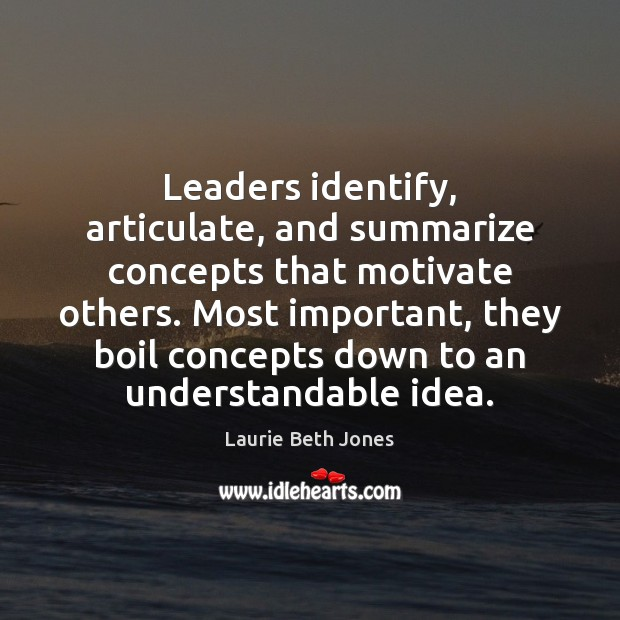 Leaders identify, articulate, and summarize concepts that motivate others. Most important, they Laurie Beth Jones Picture Quote