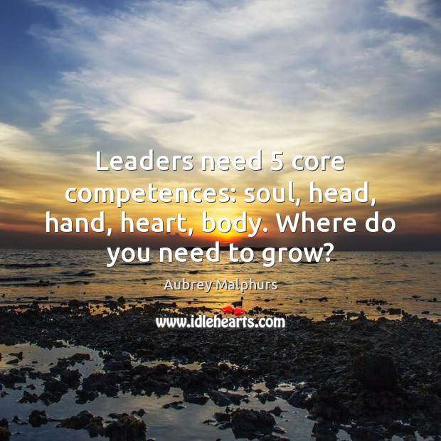 Image, Leaders need 5 core competences: soul, head, hand, heart, body. Where do you need to grow?