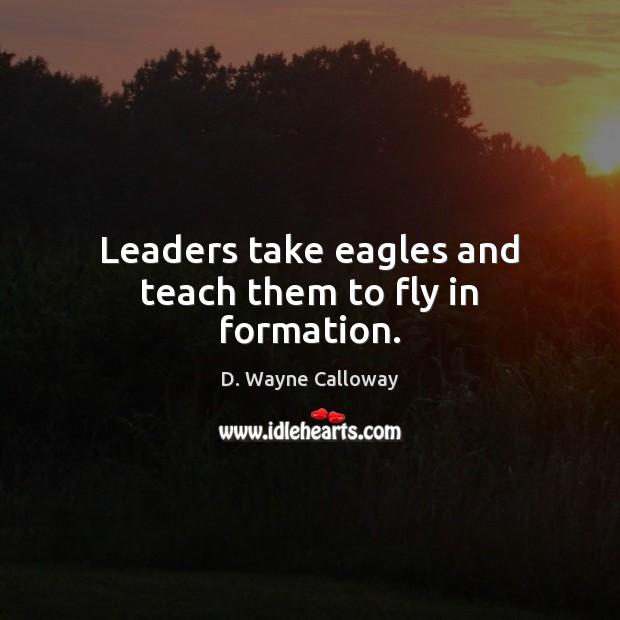 Leaders take eagles and teach them to fly in formation. Image