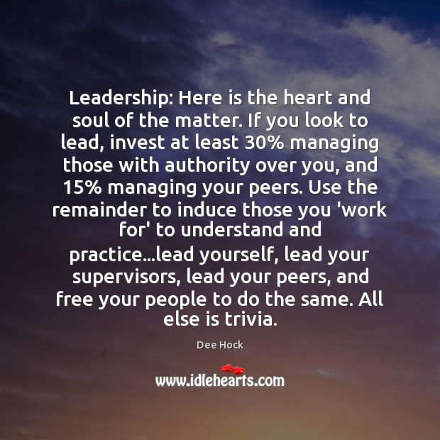Leadership: Here is the heart and soul of the matter. If you Image