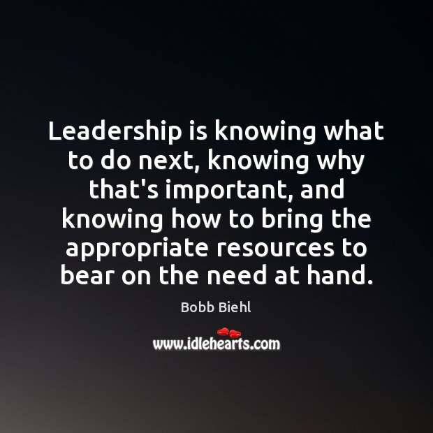 Image, Leadership is knowing what to do next, knowing why that's important, and