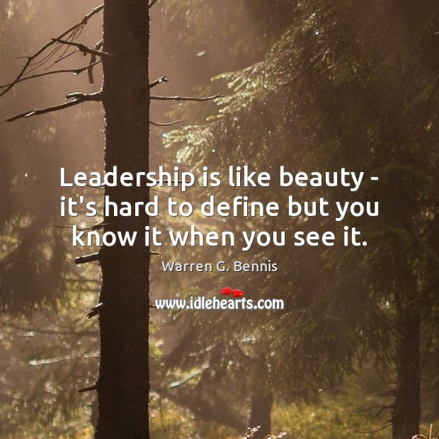 Leadership is like beauty – it's hard to define but you know it when you see it. Warren G. Bennis Picture Quote