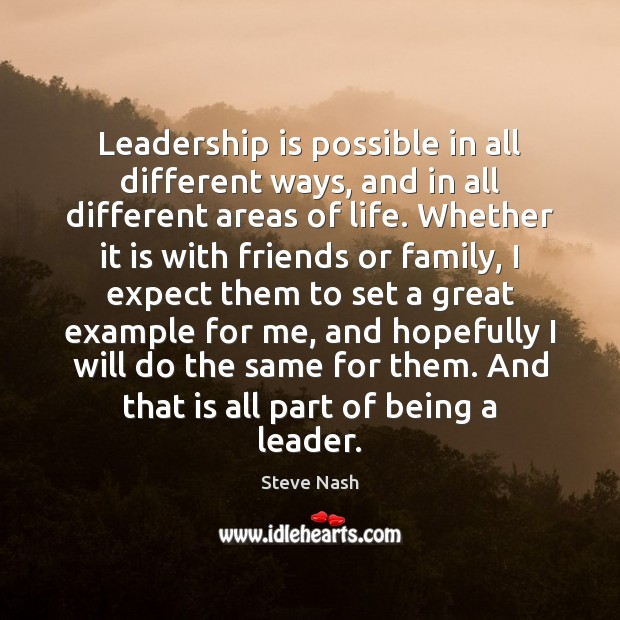 Leadership is possible in all different ways, and in all different areas Leadership Quotes Image