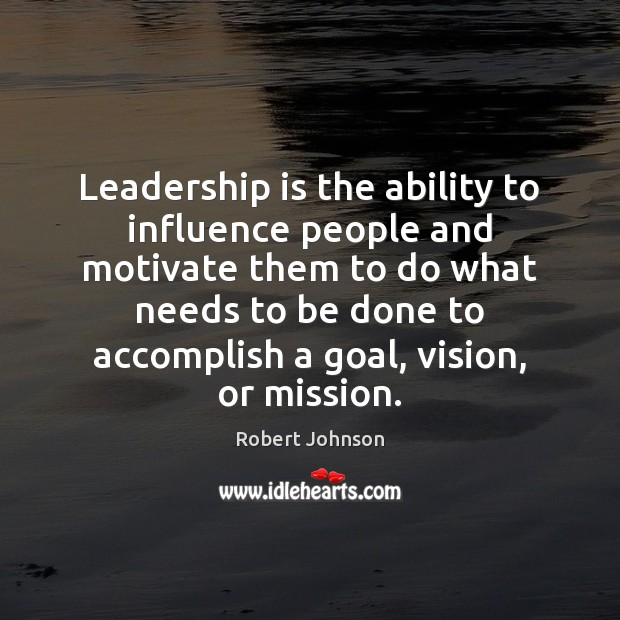 Leadership is the ability to influence people and motivate them to do Image