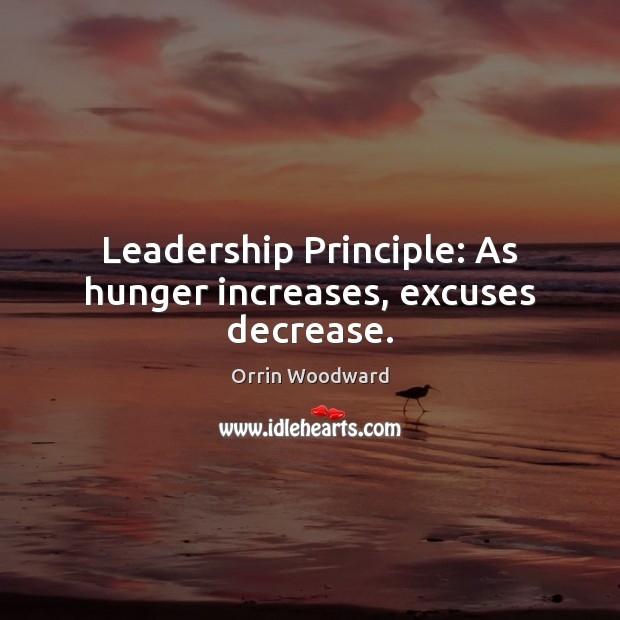 Image, Leadership Principle: As hunger increases, excuses decrease.