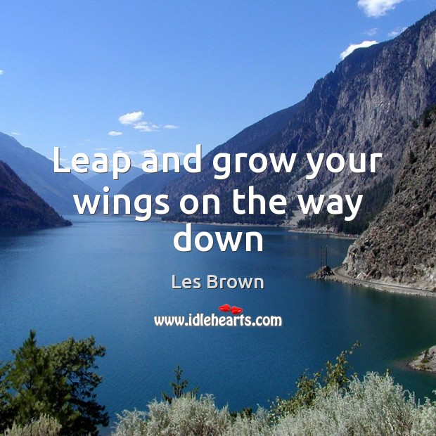 Leap and grow your wings on the way down Les Brown Picture Quote