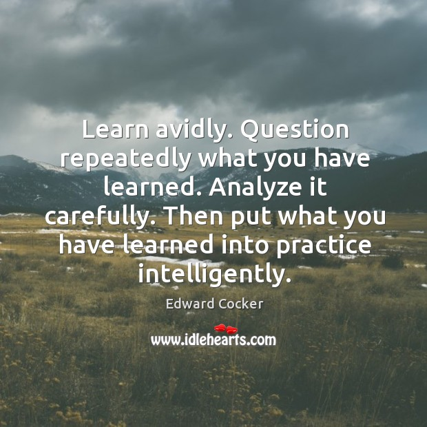 Image, Learn avidly. Question repeatedly what you have learned. Analyze it carefully.