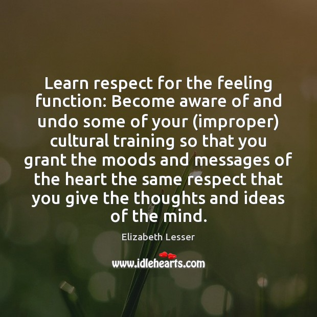 Learn respect for the feeling function: Become aware of and undo some Elizabeth Lesser Picture Quote
