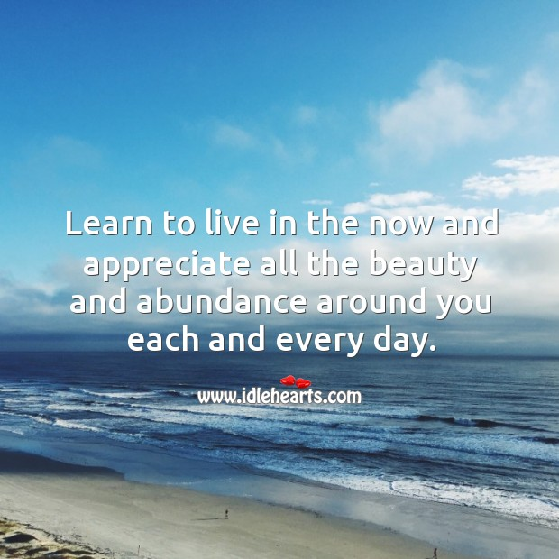 Image, Learn to live in the now and appreciate all the beauty and abundance around you each and every day.