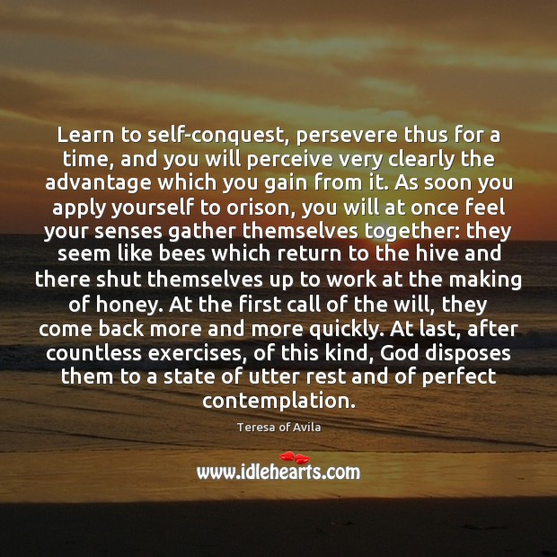 Learn to self-conquest, persevere thus for a time, and you will perceive Teresa of Avila Picture Quote