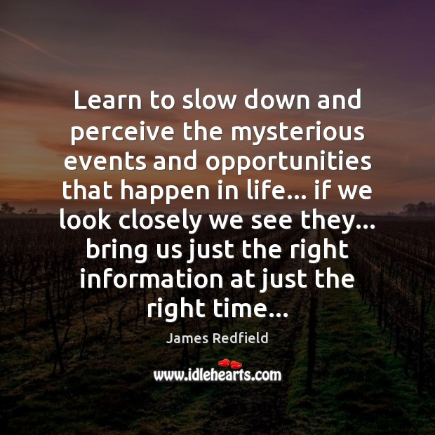 Learn to slow down and perceive the mysterious events and opportunities that James Redfield Picture Quote