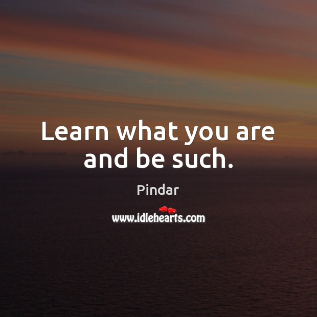 Learn what you are and be such. Pindar Picture Quote