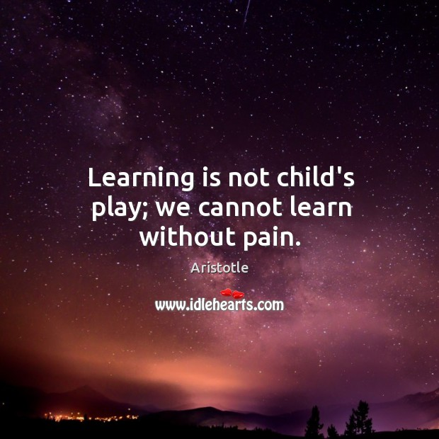 Image, Learning is not child's play; we cannot learn without pain.